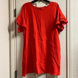 ee:some linen mini dress with tiered ruffle sleeve